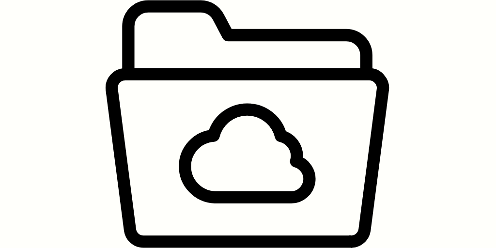 Graphic of a folder with picture of a cloud on it