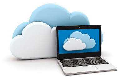 Graphic of a laptop in front of some clouds
