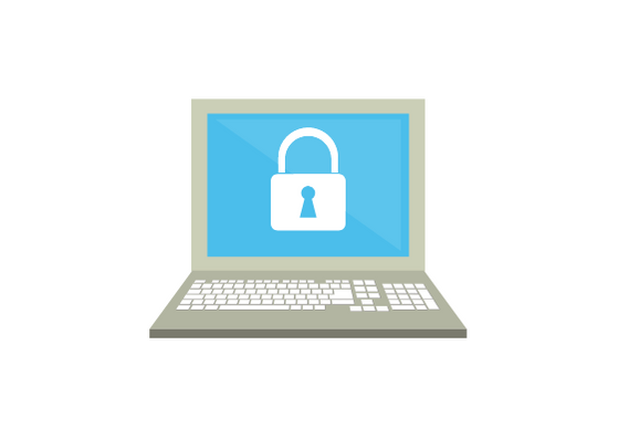 Graphic of a laptop with a padlock on screen depicting security