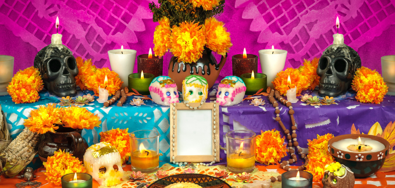Photo of a colourful Day of The Dead altar