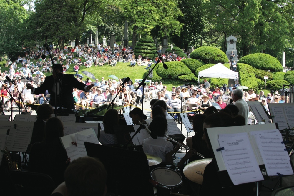Photo of a classical concert in a cemetery