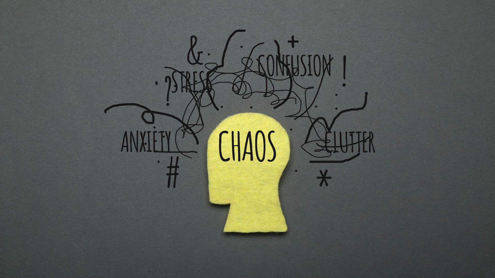 Graphic of a head and the word chaos written in it