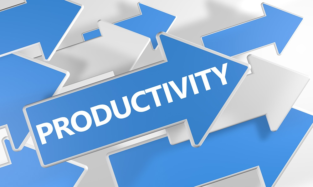 Graphic with arrows pointing up depicting increasing productivity